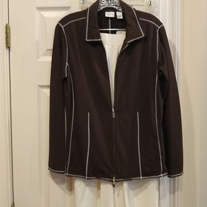 Spa by chico's, brown white jacket and white pants